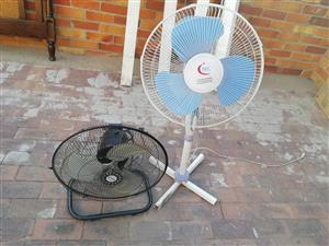 White fan and black desk fan for sale