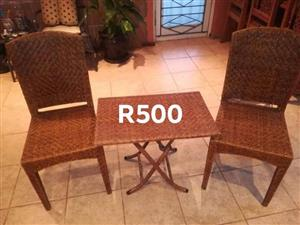 Weaved chair set for sale