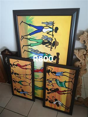 Framed set of African paintings for sale