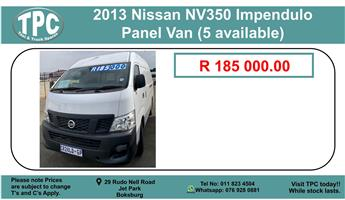 2013 Nissan NV350 Impendulo Panel Van (5 available) For Sale.