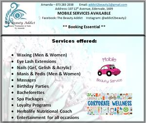 Professional Beauty Salon Services (MOBILE OR IN HOUSE)
