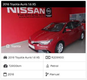 2016 Toyota Auris 1.6 XS