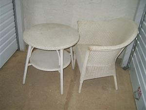 LLOYD LOOM-STYLE CANE TABLE AND CHAIR