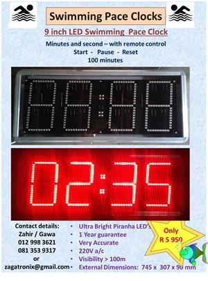 Swimming Pace Clock (4 Digit display) with remote control