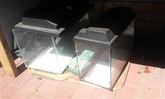 Two glass fish tanks