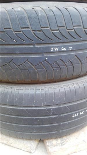 Used 17 Inch Tyres - 235/65/17 Bridgestone and Michelin
