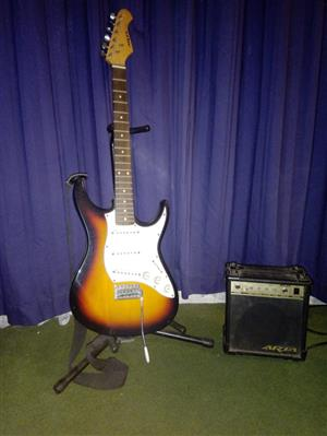 Aria STG series guitar, amp and stand