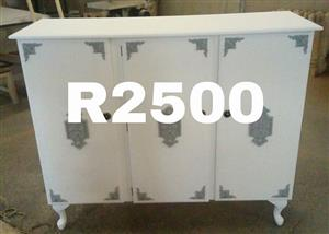 White and gray 3 door cabinet