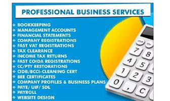 COMPANY REGISTRATION,SHELF COMPANIES, VAT SHELF COMPANIES, TAX RETURNS, BEE CERT,  FINANCIALS & MANAGEMENT A/C'S