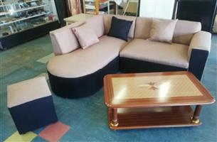 Bargain !!! Brand New Corner Lounge Suite with Scatter Cushions with Ottoman Stool