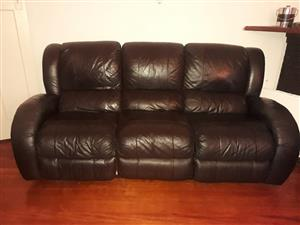 3seater real leather black couch