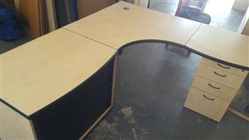 Maple desk with drawers and credenza