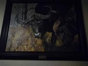 Framed wildebees painting