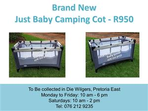 Brand New Just Baby Camping Cot (Mattress available at R350 extra)