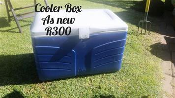 Blue and white coolerbox