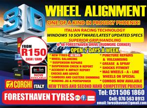 3 d wheel alignment from r 150,00 / 7 days a week !