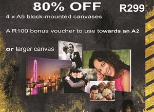 80% OFF 4 X A5 canvas for R299