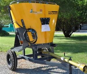 S3146 Yellow Soilmaster Vertical Feed Mixer 2 Cube On Wheels New Implement