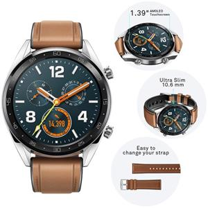 Huawei Watch GT FTN-B19 saddle brown silicone strap
