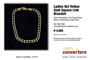 Ladies 9ct Yellow Gold Square Link Bracelet