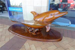Dolphin Style Coffee Table with Glass Top