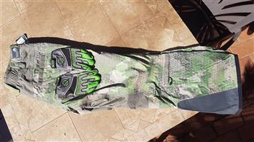 Camouflage moto x pants and gloves