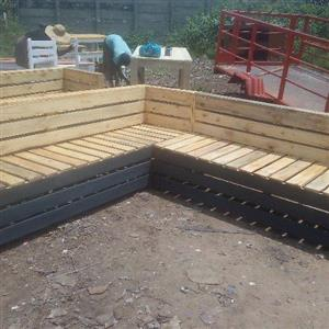 L shaped wooden benches in two tone colour