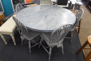 4 Seater Round Wooden Dining Room Suite - B033047785-2