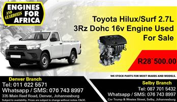 Toyota Hilux Surf 2.7L 3Rz Dohc 16v Carb Engine For Sale