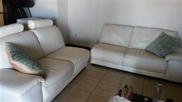 WHITE ITALIAN LEATHER TWO SEATER COUCHES