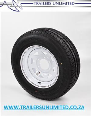 "TRAILER AND CARAVAN TYRES. 15"" RIM AND TYRE COMBO.   6 STUD - 140 PCD SPECIAL PRICE. R1495.00 EXCL."