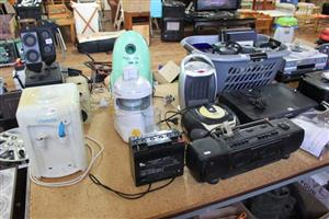 Dispenser, battery and old tape and cd players