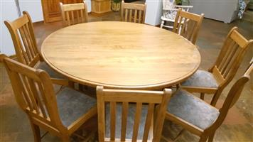 ROUND DINING TABLE & 8 CHARS