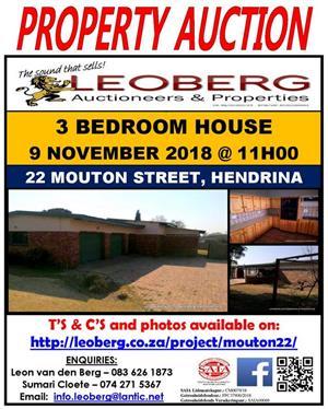 3 Bedroom Family Home on Auction 9 November 2018 at 11h00, Hendrina (Mp)