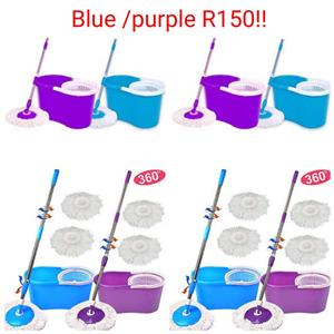 Blue and purple 360 mops with buckets
