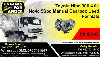 Toyota Hino 300 4.0L No4c 5Spd Manual Gearbox Used For Sale.
