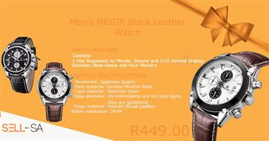 Men's MEGIR Black Leather Watch