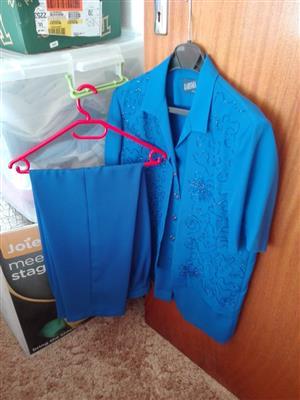 Peach and Blue ladies formal pants suites