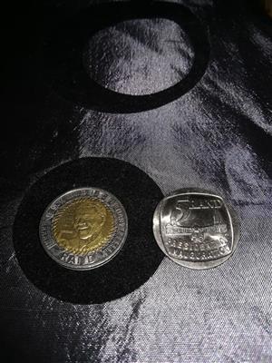 R5 Mandela 2018 and 1994 presidential inauguration Mandela coin