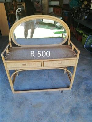 Cane dresser with mirror for sale