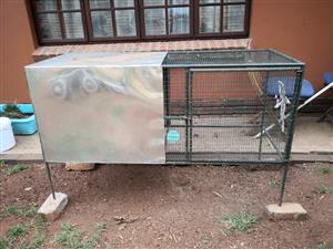RABBIT / SMALL ANIMAL CAGE WITH ANGORA RABBIT. 150CM L / 60CM W / 60CM H (100CM H INCL LEGS)