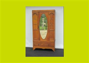 Vintage Oak Single Mirrored Door Wardrobe - SKU 666