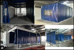 SPRAY PAINT BUDGET CONTAINMENT AREAS / PREP , FLATTING AREAS - PVC CURTAIN & EXTRACTED