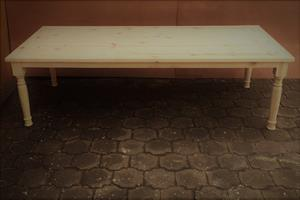 Patio table Chunky Cottage series 2700 with turned legs - Raw