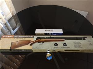 Brand new Beeman PCP Air Rifle .22 with Original scope and pallets