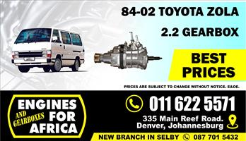 New Toyota Zola 5speed Gearbox For Sale at Engines for Africa