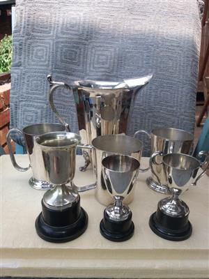 Silver plated tumblers and trophies