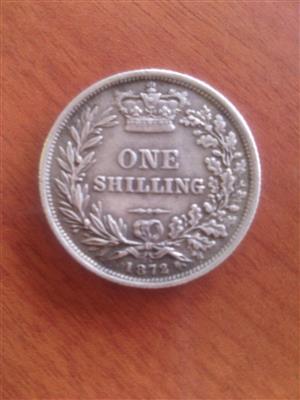 one shilling 1872 victoria dei gratia britanniar reg f d