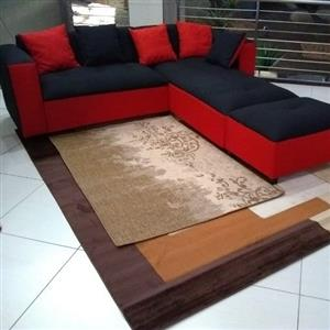 New black and red fabric sofa set