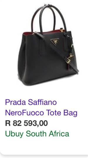 Authentic PRADA Saffiano Leather Double Handle Tote Black